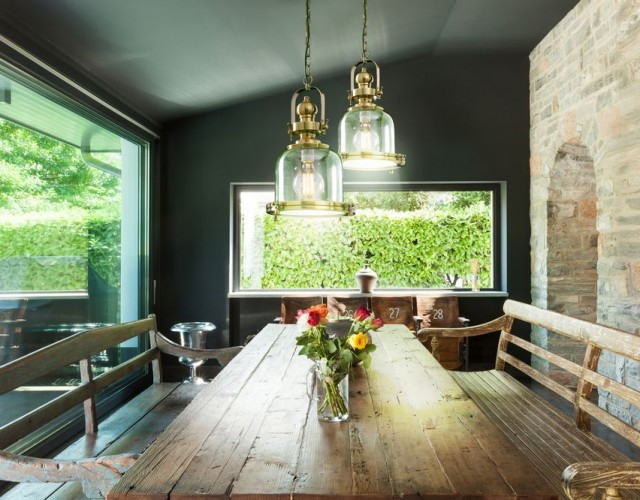 Interior, modern house, dining room. rustic furniture