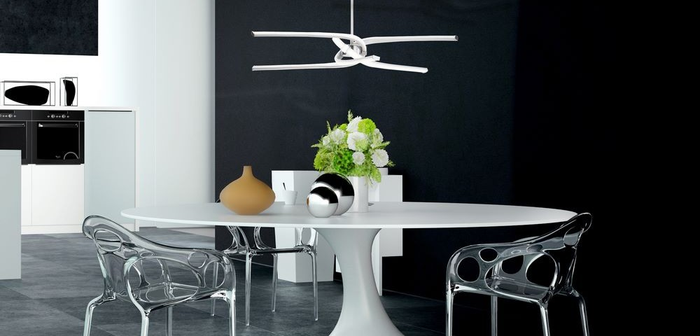 Modern Architectural Design of an Elegant Decorated Dining Table at the Home Kitchen