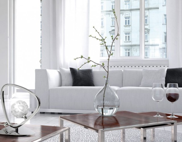 Amazing white loft living room interior