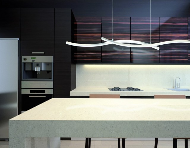 3d rendering  Wood kitchen with granite island