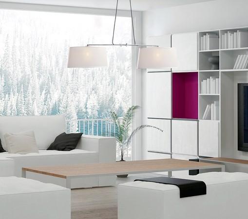 Colgante con dos pantallas textil-metal , regulable en altura en tu tienda de lamparas luzka en Burgos.